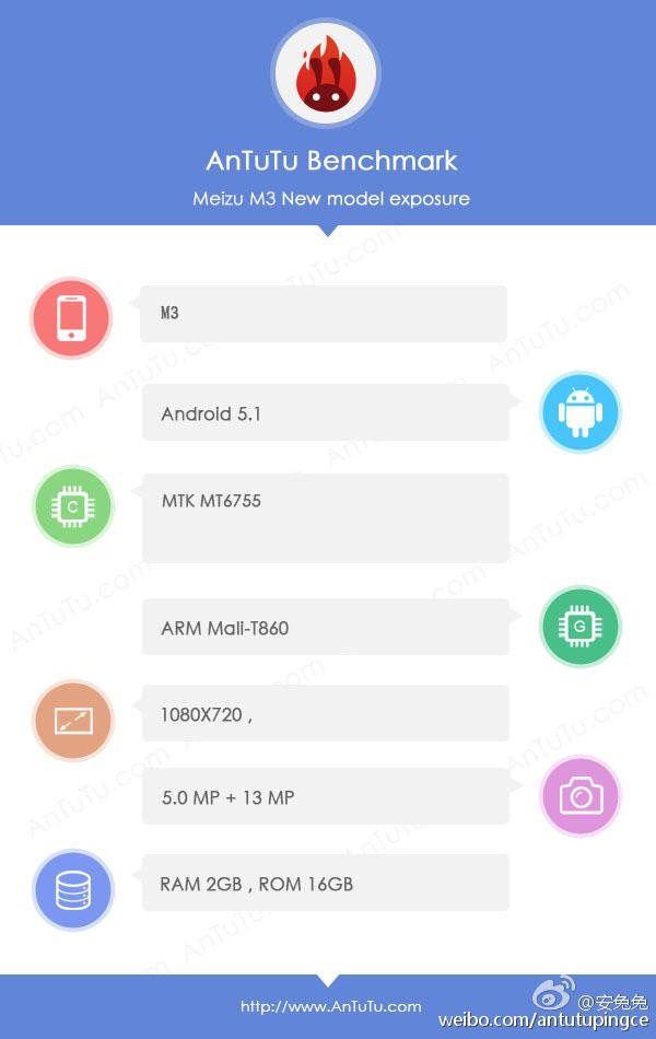 Antutu公式により、Meizu m3 miniのスペックがリーク。Meizu m3 noteと同じくHelio P10を搭載