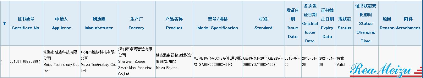 新型ルーターMZRE1Wを開発中?中国質量認証センターにて認証を取得