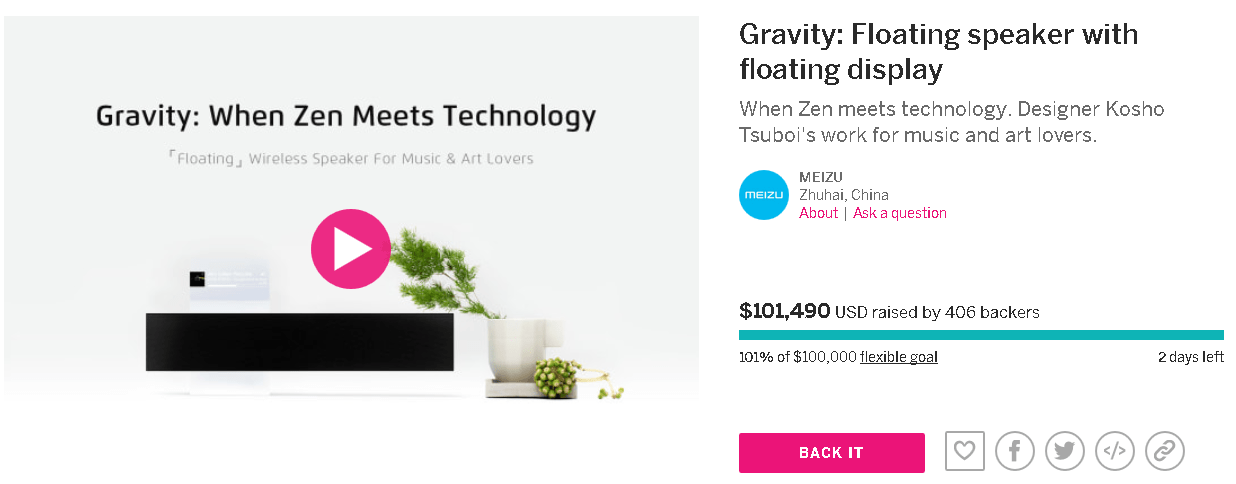 Indiegogoにて資金を集めていたMeizu Gravityが残り2日で$100,000突破!見事ゴール!