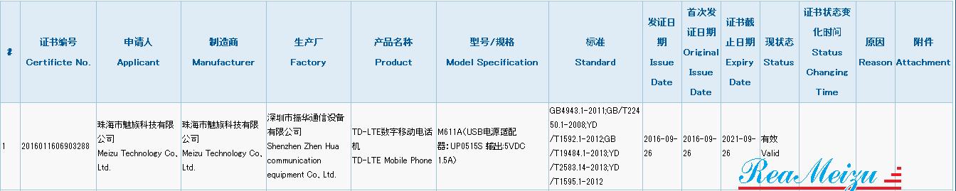 「M611A」という型番を持つMeizu製スマートフォンが3Cの認証を取得