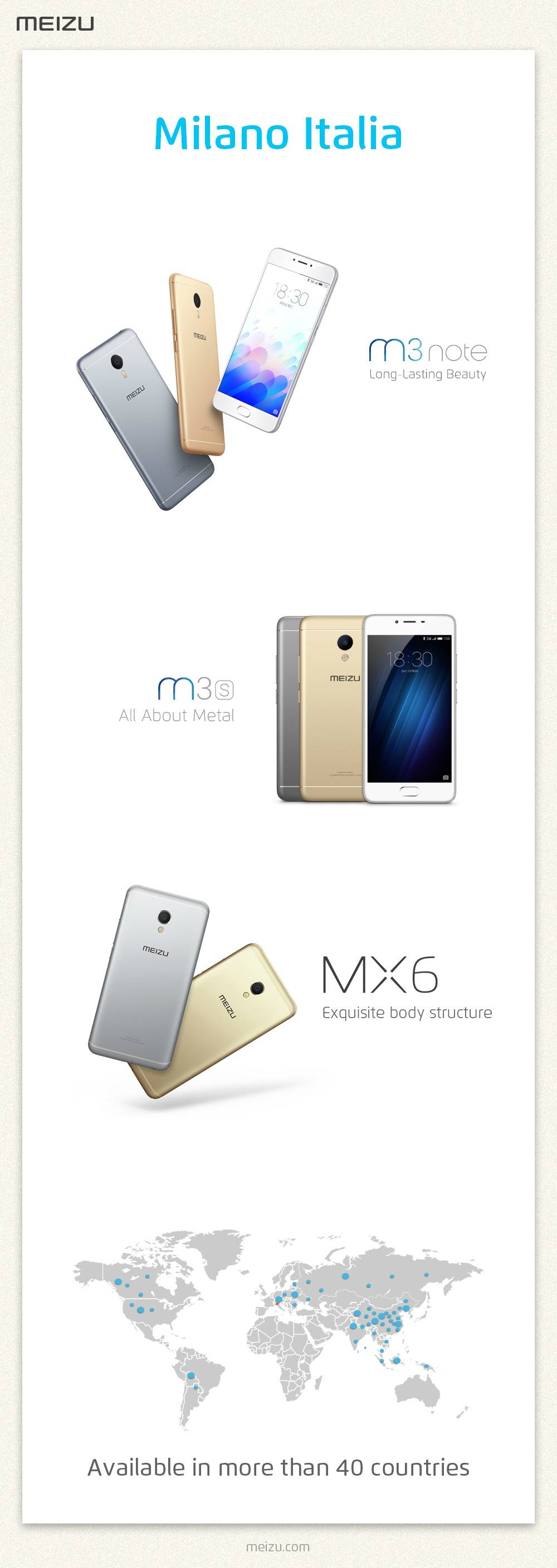 Meizuがイタリアのスマートフォン市場にMeizu M3 note、Meizu M3s、Meizu MX6を投入