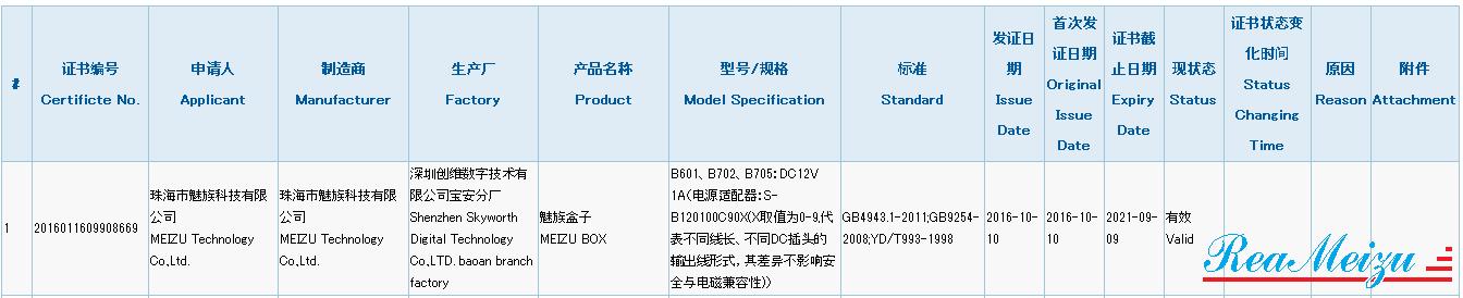 未発表型番「B601」、「B702」、「B705」が3Cの認証を取得。Android TV搭載機器「MEIZU BOX」を開発中
