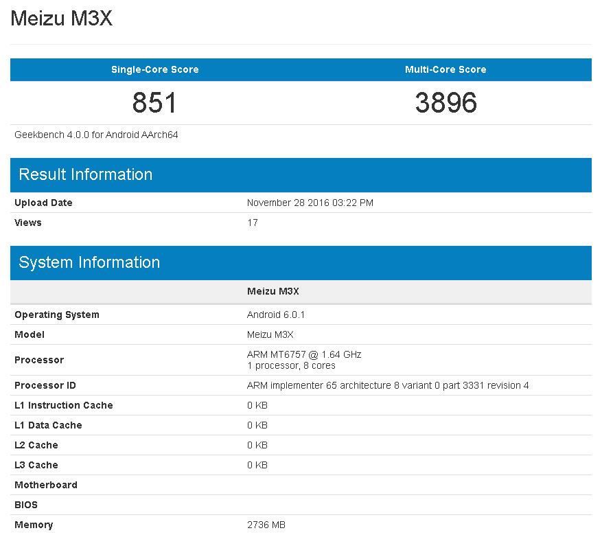 Helio P20(MT6757)を搭載した魅藍X(Meizu M3X)がGeekbenchにてリーク。Android 6.0.1 Marshmallowを搭載