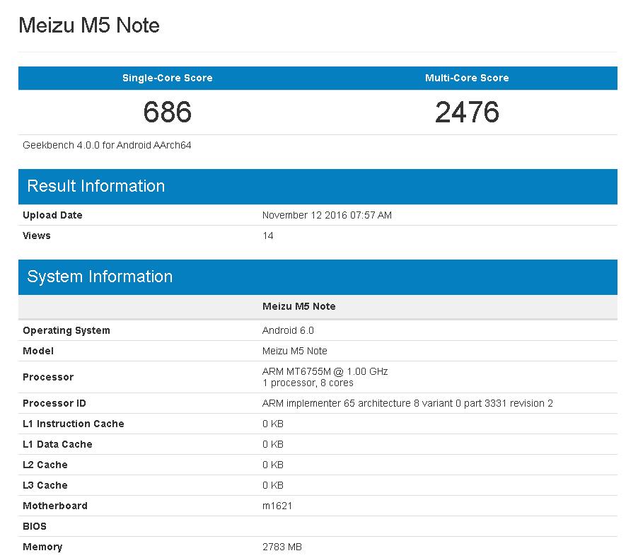 Meizu M5 noteがGeekbenchにて流出。またHelio P10(MT6755M)を搭載