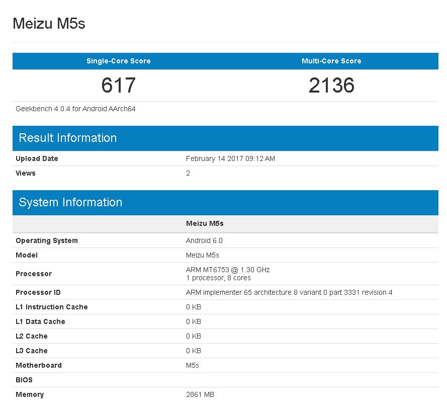 RAM 3GBモデルのMeizu M5sがGeekbenchに出現。RAM 2GBモデルと大きな変化は無し