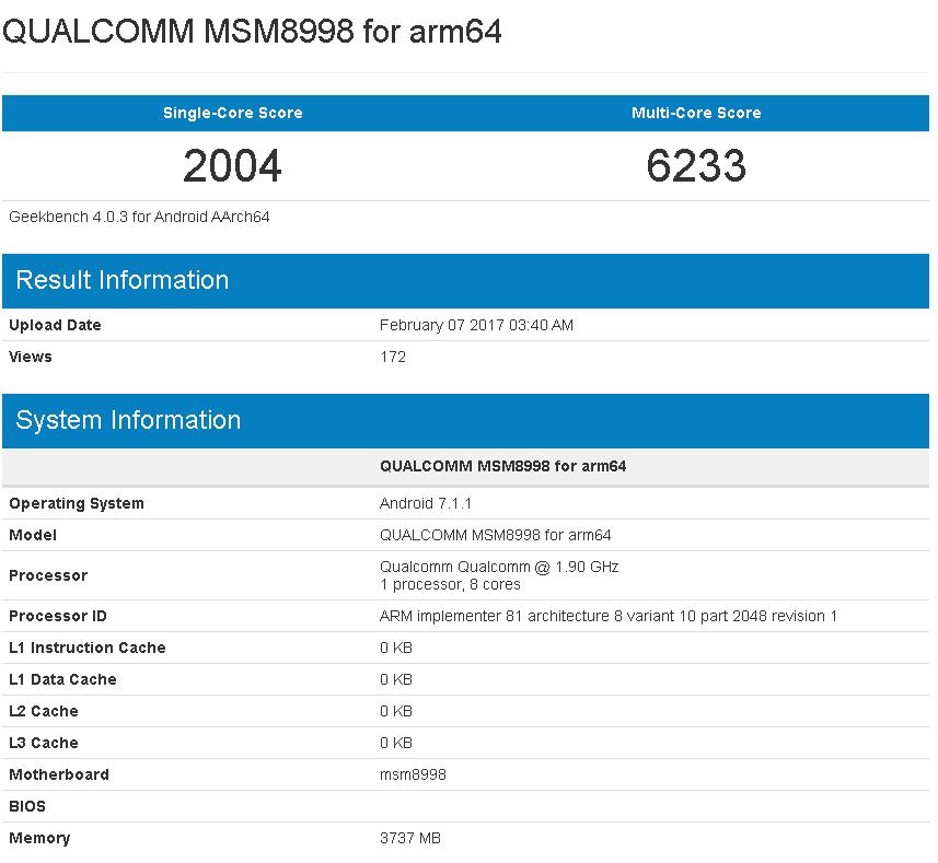 Qualcommの新SoC「Snapdragon 835」がGeekbenchに登場。Kirin 960と同等のコア性能