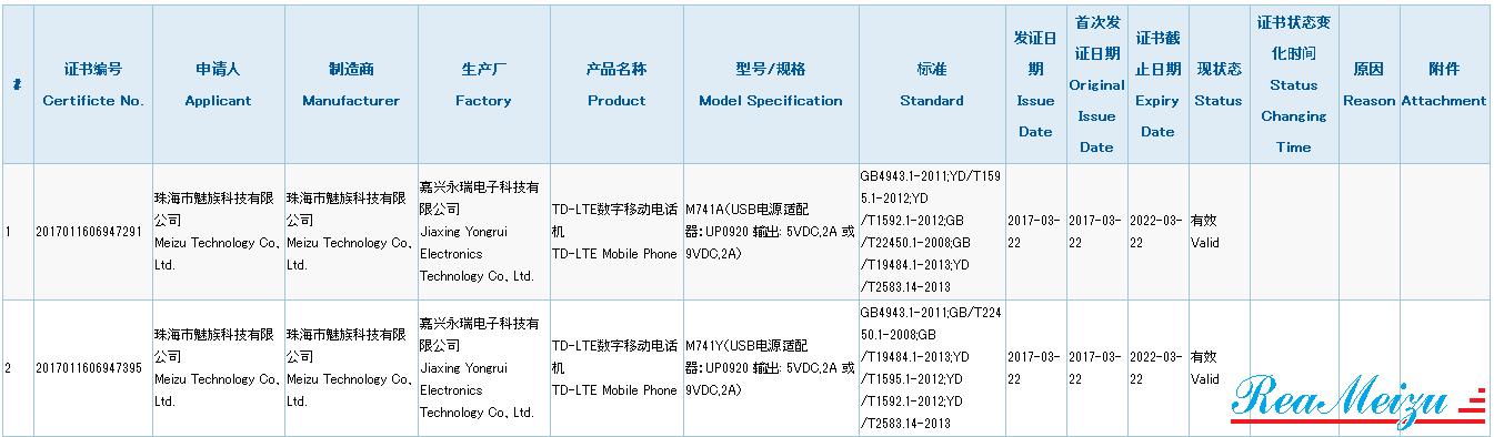 2017年第一弾のMeizuスマートフォンとなる「M741」が3Cの認証を通過。Flyme powered by YunOS搭載モデルか