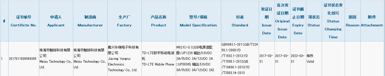 中国電信向けにBandを追加したMeizu M5 Note(M621C-S)が3Cの認証を通過