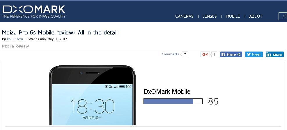 Meizu PRO 6sがDxOMarkで85点を記録。Huawei Mate 9とLG V20と同等レベルということに