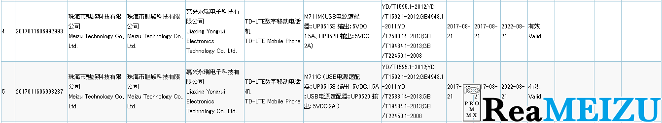 Meizu M6 miniと思われるM711が3Cの認証を通過