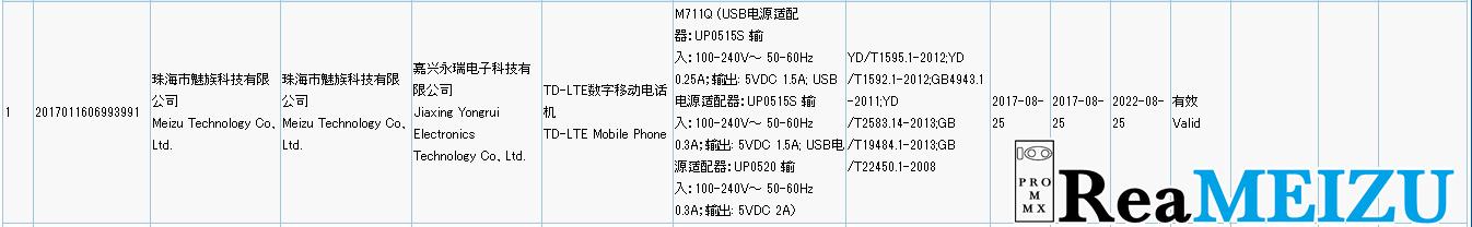 Meizu M6 miniと思われる「M711Q」が3Cの認証を通過