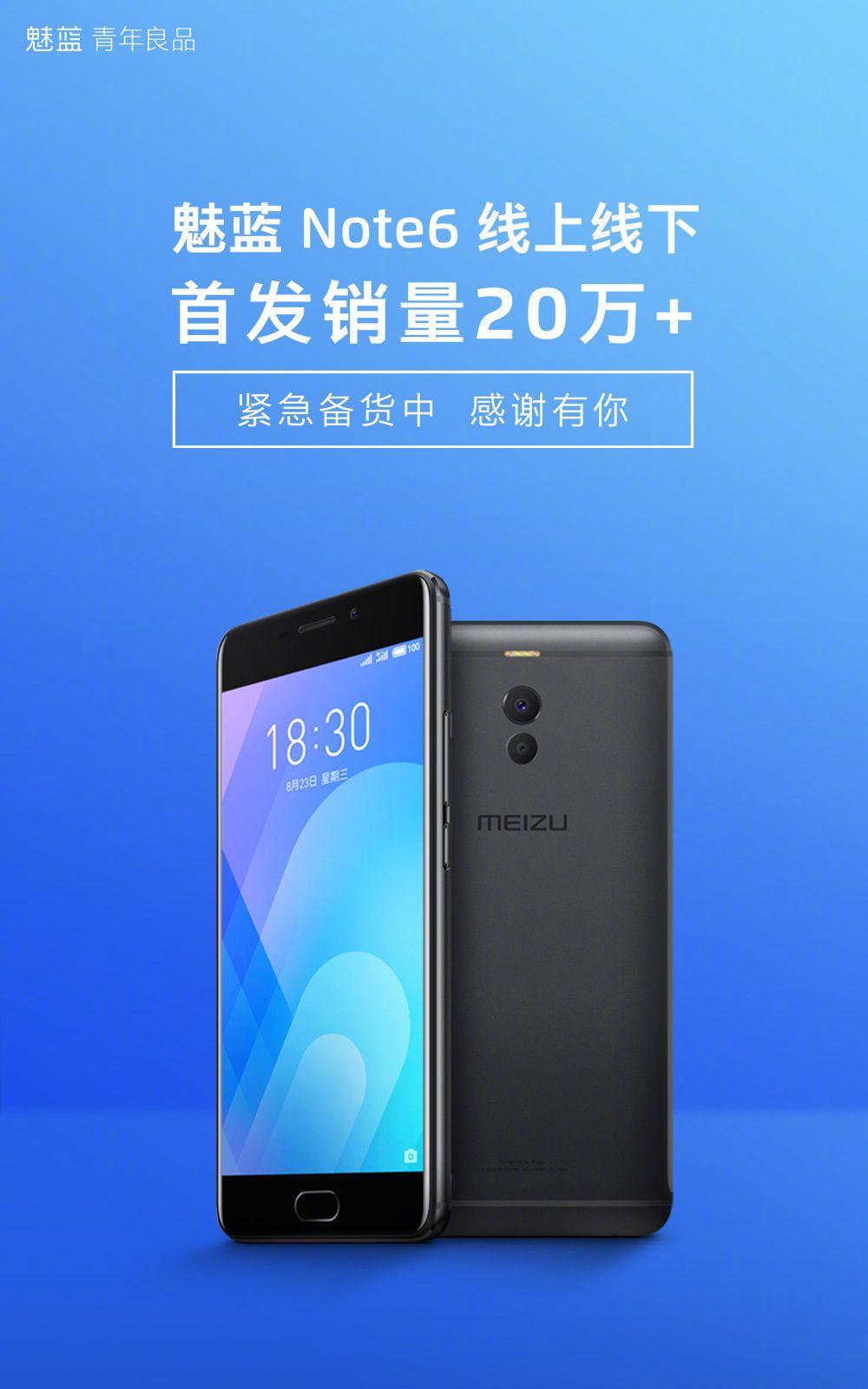 Meizu M6 Noteが9月1日、9月2日で20万台以上売り上げたことを報告
