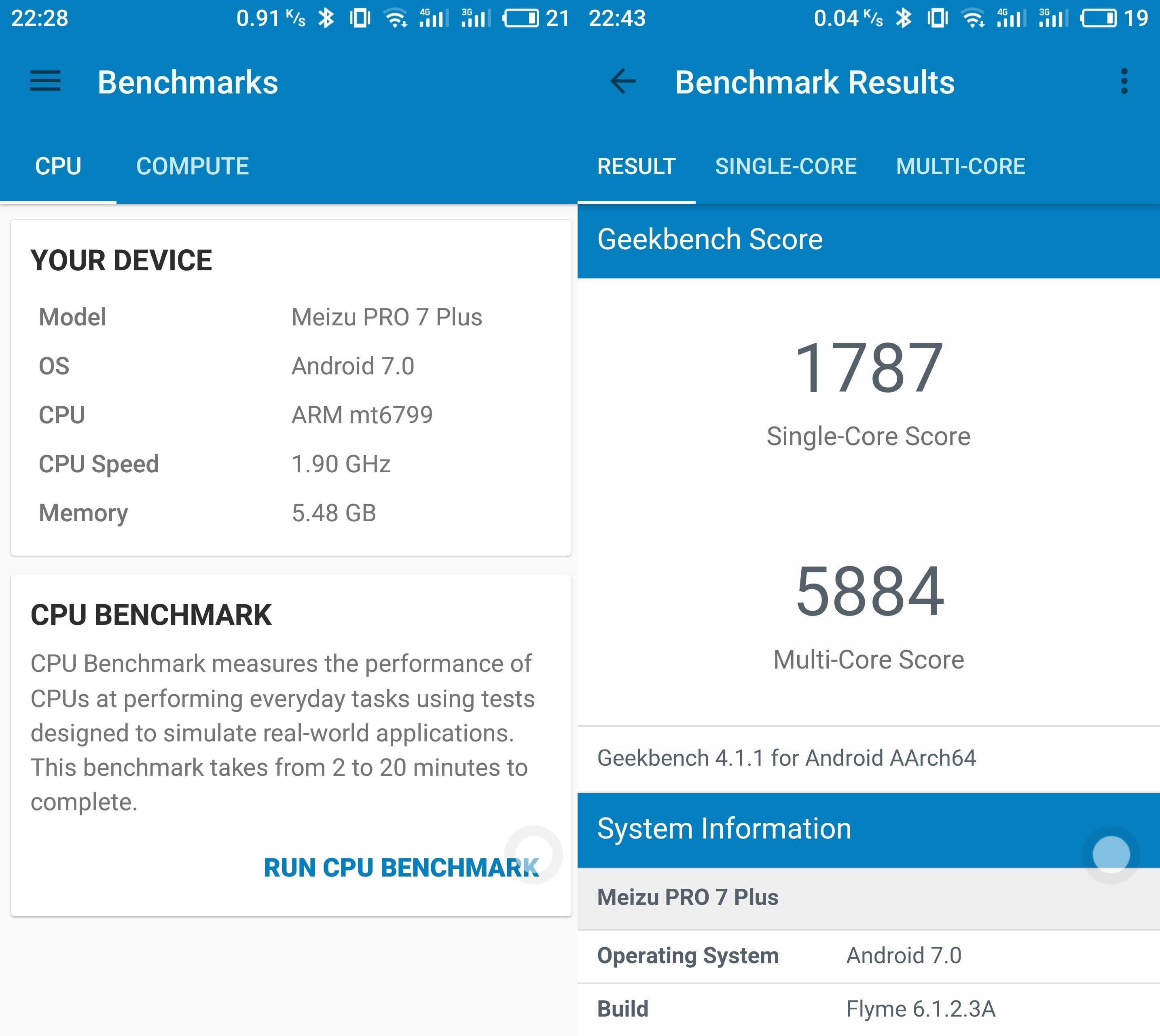 Meizu PRO 7-H(Helio X30)、Meizu PRO 7 PlusがGeekbench 4での計測が可能に