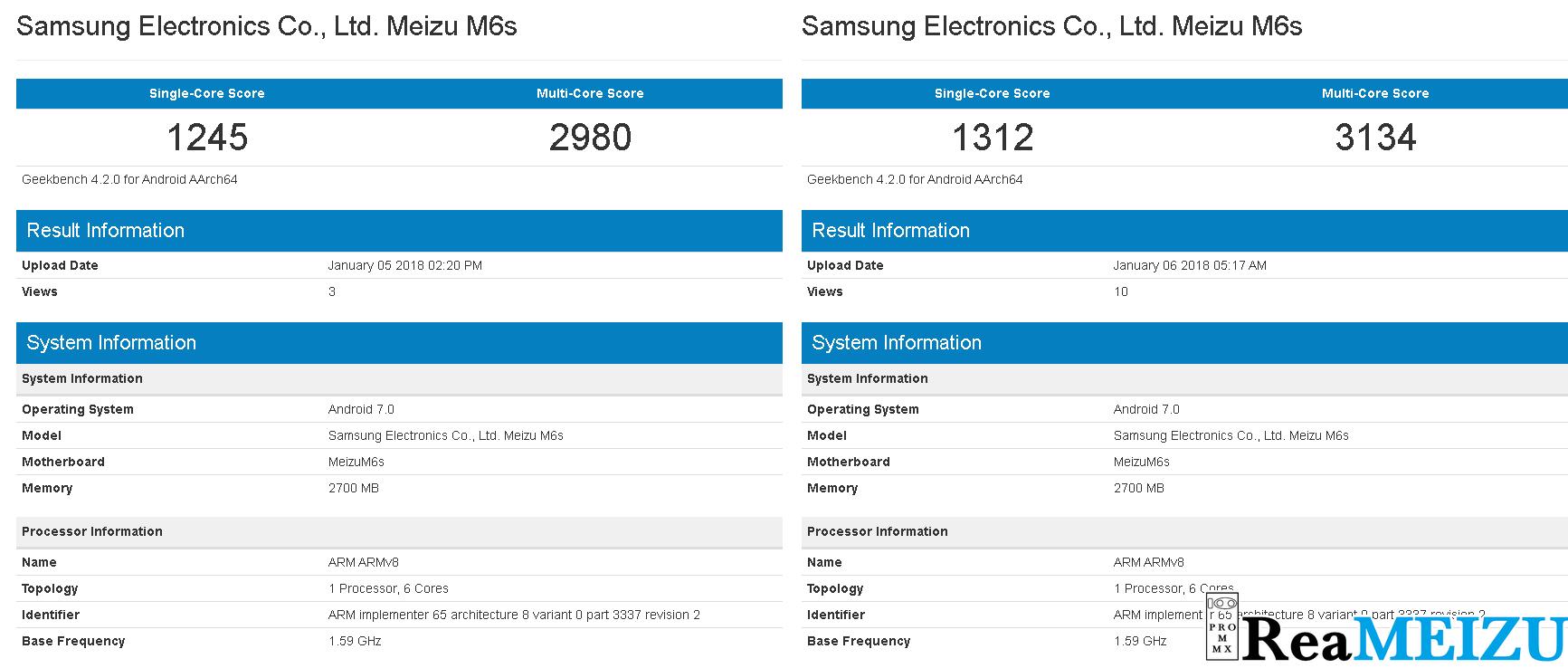 魅藍 S6(Meizu M6s)がGeekbenchに登場。SAMSUNG製プロセッサーを搭載