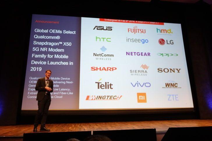 5Gに対応したQualcomm Snapdragon X50 5G NR Modemを合作する18企業を発表。SAMSUNGの名は無し
