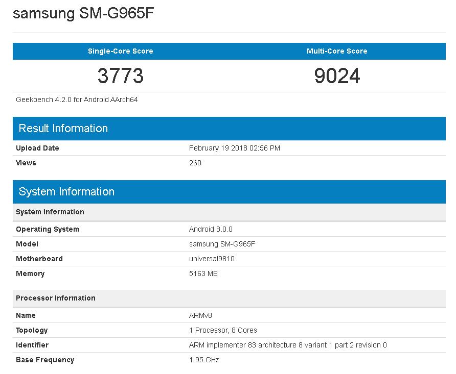 SAMSUNG Exynos 9 Series(9810)を搭載したGalaxy S9+のGeekbench結果が流出。マルチコア性能は9000点オーバー