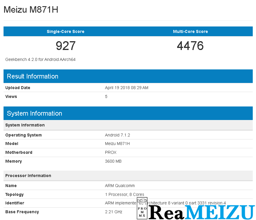 Meizu 15 LiteのGeekbench結果が公開。Qualcomm Snapdragon 626を搭載か