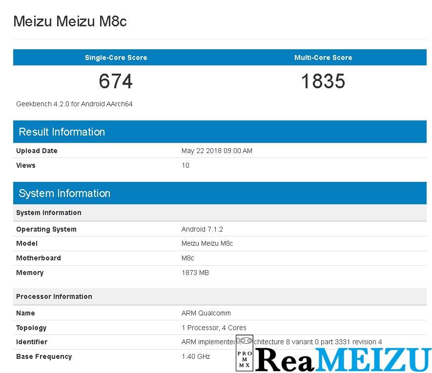 Meizu M8cがGeekbenchからリーク。Qualcomm Snapdragon 425を搭載か