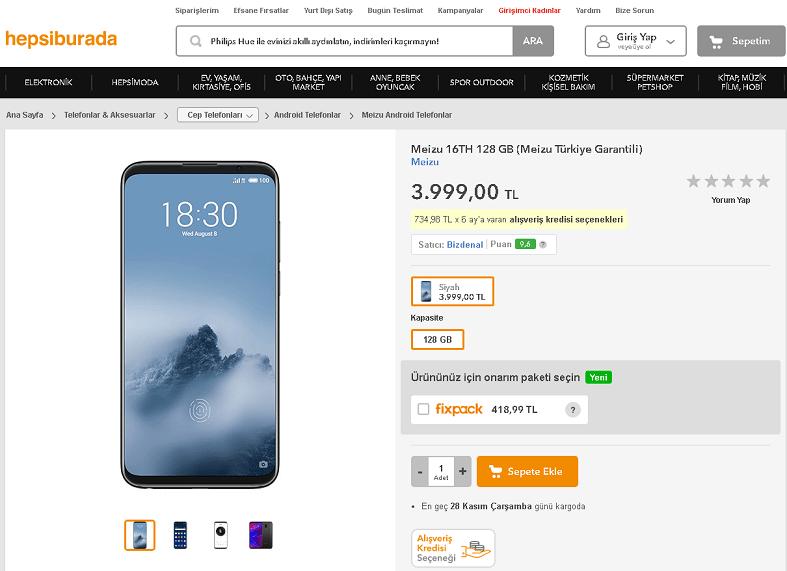 トルコ市場向けにMeizu 16thを発表。8GB+128GBモデルが3,999TRY(約85,000円)