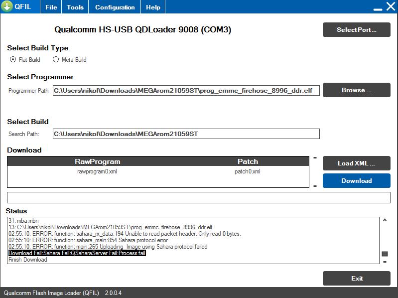 QFILで「Download Fail:Sahara Fail:QSaharaServer Fail:」のエラーに遭遇したときの対処法