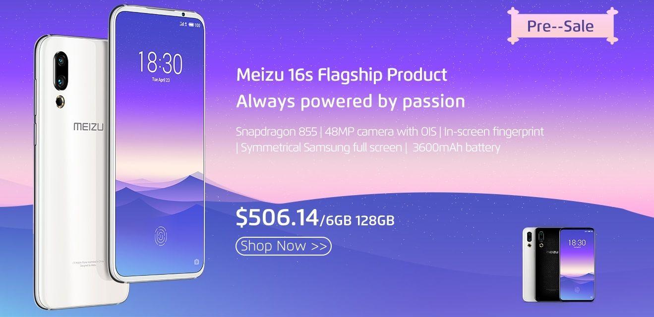 AliExpressにて国際市場向けMeizu 16sのプリセールを開始、6GB+128GBモデルが$509.14から