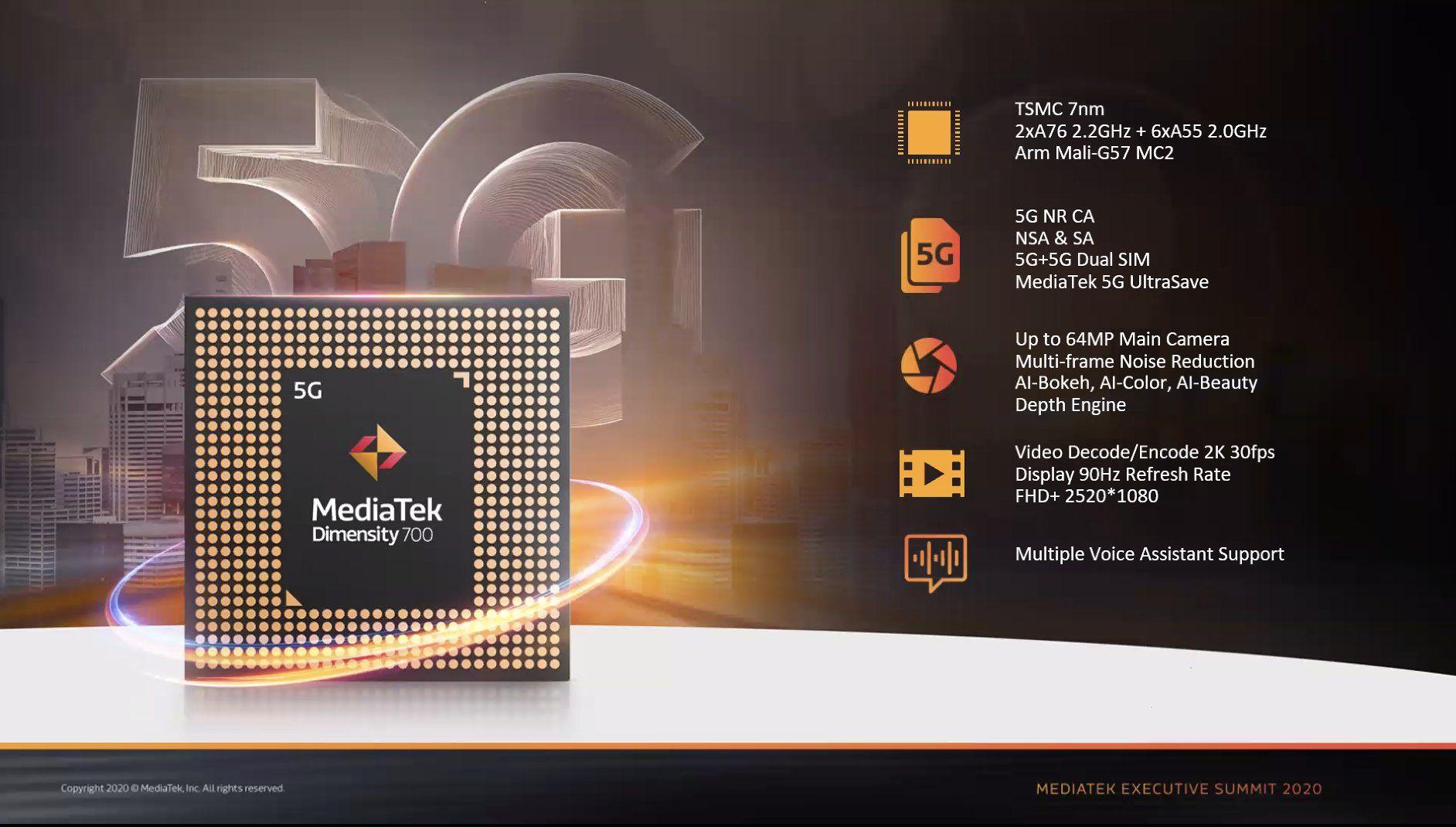 MediaTek Dimensity 700を発表、7nm FinFET製造プロセスの5G通信対応ミドルレンジ製品