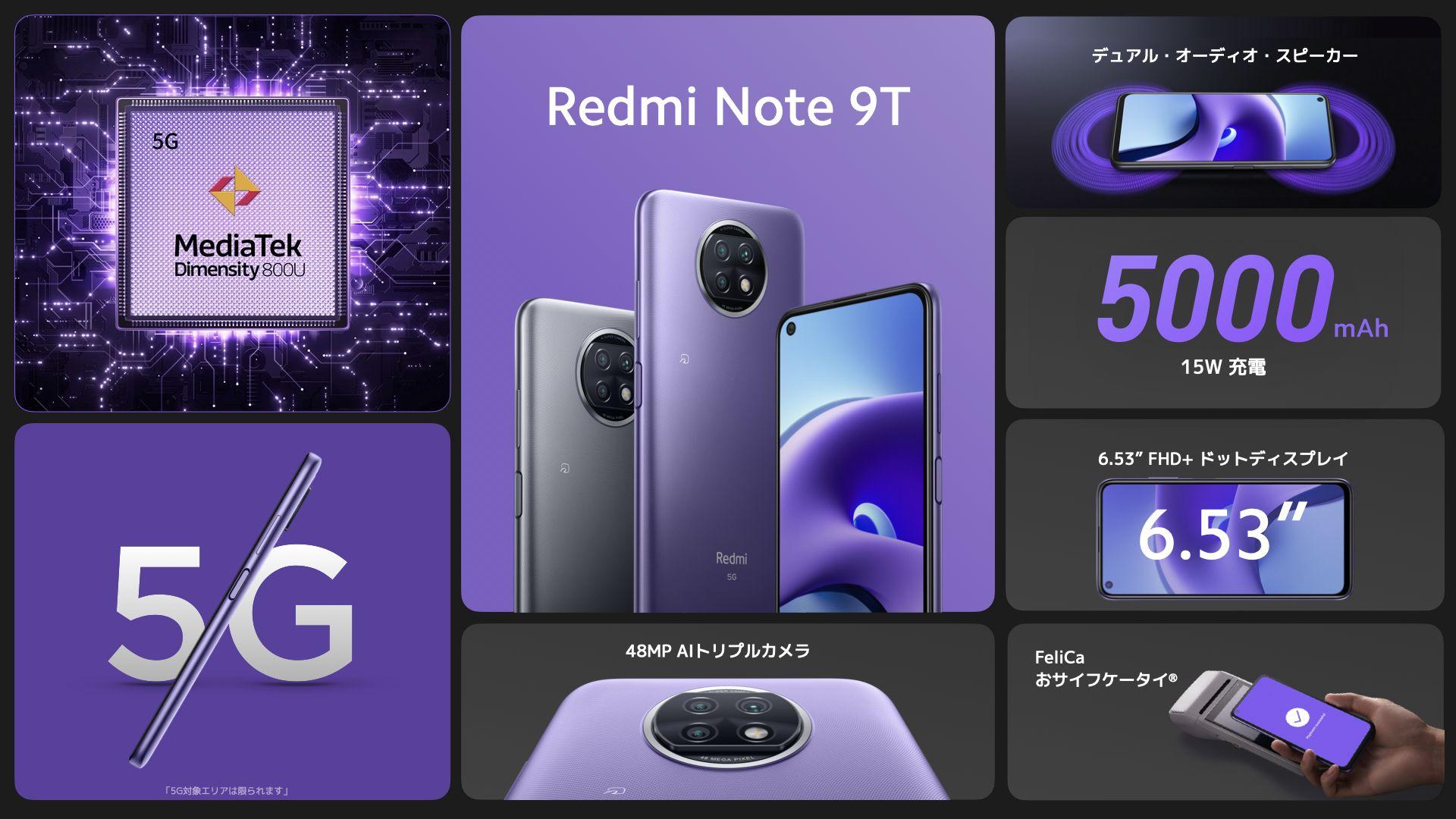 XiaomiがSoftBank専売製品としてRedmi Note 9Tを発表、日本市場初Dimensity搭載製品に