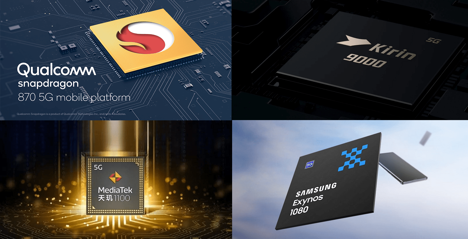 Snapdragon 870 5G、Kirin 9000E、Dimensity 1100、Exynos 1080を比較